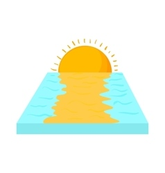 Sea sunset icon in cartoon style vector image vector image