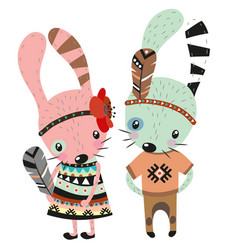 two cute rabbits on a white background vector image