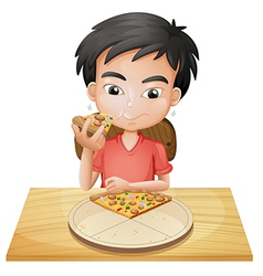 A boy eating pizza vector image vector image