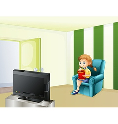 A girl watching TV while eating vector image