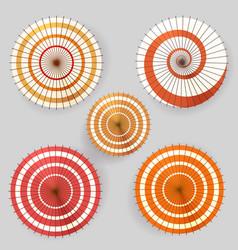 Asian paper umbrella top view collection vector