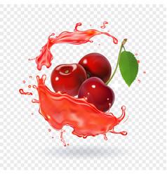 Cherry juice realistic fresh berry fruit splash vector