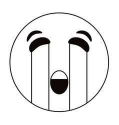 crying emoticon style thin line vector image