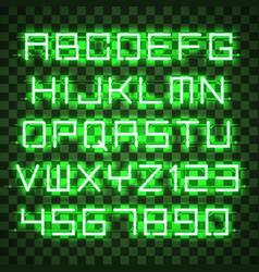 glowing blue green alphabet vector image vector image