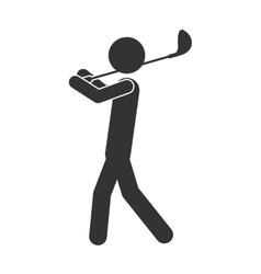 monochrome silhouette of man with golf club vector image