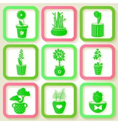 Set of 9 icons of different plants vector image