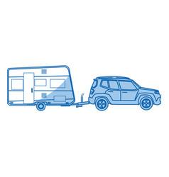 Suv car camper trailer travel transport vector