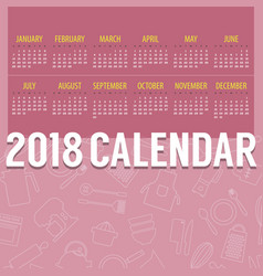 2018 pink cooking stuff lined icon calendar vector