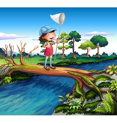 A girl holding a butterfly net crossing the river vector