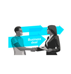A man and a woman make a deal handshake vector