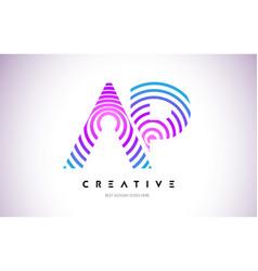 Ap lines warp logo design letter icon made vector
