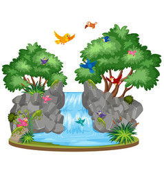 background scene waterfall and birds vector image