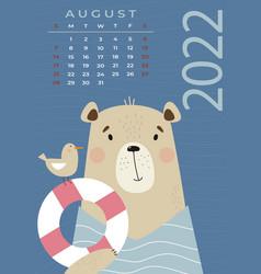 Bear calendar august 2022 tourist with seagul vector
