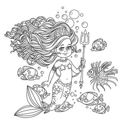 beautiful mermaid girl surrounded by a fish holds vector image