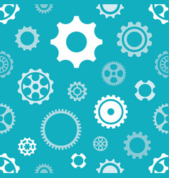 blue seamless gear wheels pattern isolated vector image