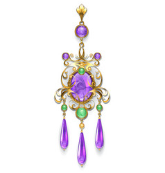 Brooch with amethyst and chrysoprase vector