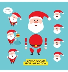 Cartoon character Santa Claus in various positions vector