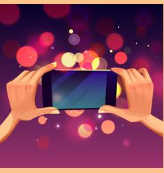 Cartoon hands holding smartphone making vector