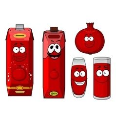 Cartoon pomegranate juice containers and fruit vector image