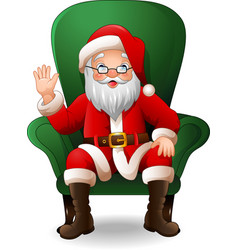 cartoon santa claus sitting on green arm chair vector image