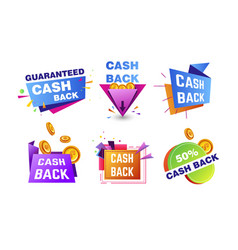 cash back shopping and finance isolated icons vector image