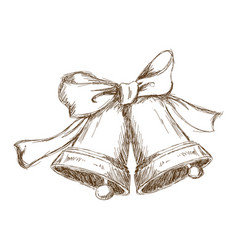 Christmas bells with bow vintage engraving vector