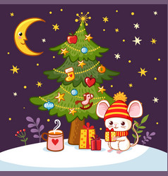 christmas card with mouse and new year tree vector image