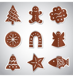 christmas various gingerbread symbols set eps10 vector image