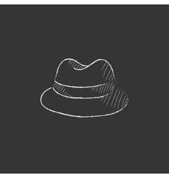 Classic hat Drawn in chalk icon vector