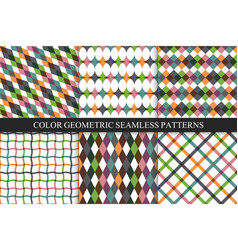 collection colorful seamless geometric patterns vector image