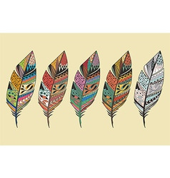 Collection of vintage tribal ethnic feathers vector image