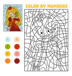 Color by number education game princess and parrot vector