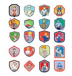 Construction worker icon shield set vector