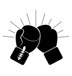 Contour boxing play and gloves icon vector