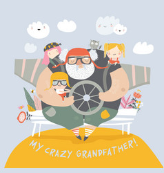 Crazy grandfather with grandchildren playing vector
