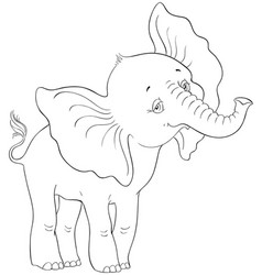 cute cartoon baby elephant coloring page vector image