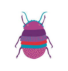 Cute colorful scarab insect top view vector