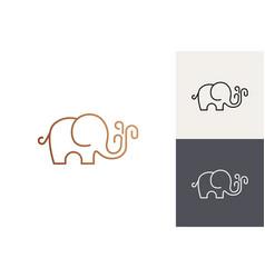 cute elephant logo elephant line art logo vector image