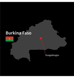 Detailed map of Burkina Faso and capital city vector image