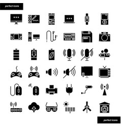 device and technology solid icons set vector image