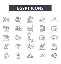 Egypt line icons for web and mobile design vector