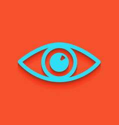 Eye sign whitish icon on vector