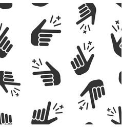 finger snap icon seamless pattern background vector image