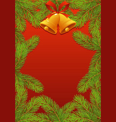 fir tree branches with red bow and bells new year vector image
