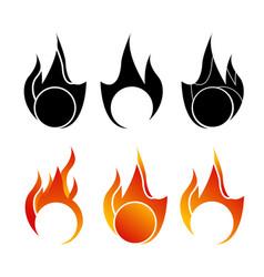 Fire flame logo - icon set vector