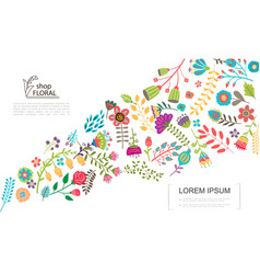 flat colorful floral template vector image