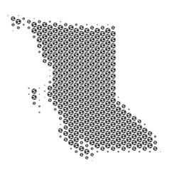 Football ball british columbia province map mosaic vector