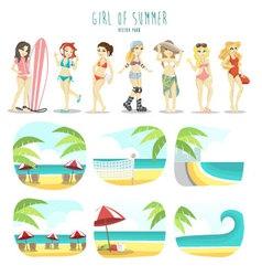 girl summer pack vector image