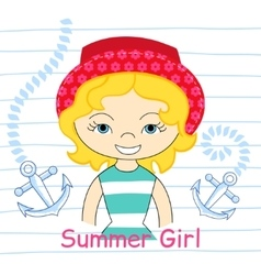 Girl with sea vector