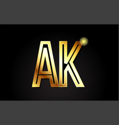 Gold alphabet letter ak a k logo combination icon vector
